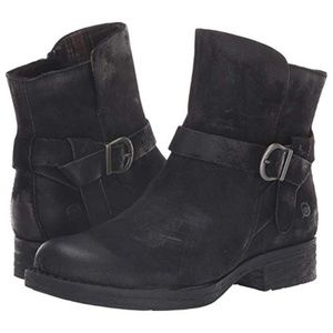 Born Syd Booties Black Distressed Leather NEW